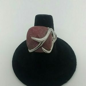 Size 7 Silver-Tone Ring With Red Stone